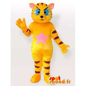 Mascot yellow and black striped cat with blue eyes