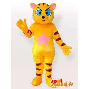 Mascotte de chat rayé jaune et noir avec yeux bleus