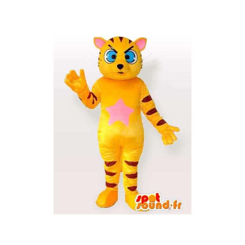 Raidallinen kissa maskotti keltainen ja musta sinisilmäinen - MASFR00845 - kissa Maskotteja