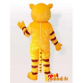 Prokládané kočka maskot žlutá a černá s modrýma očima - MASFR00845 - Cat Maskoti