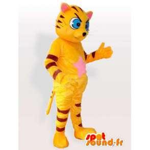 Mascot gelb und schwarz gestreiften Katze mit blauen Augen - MASFR00845 - Katze-Maskottchen