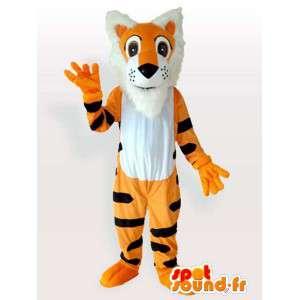 Mascotte de tigre orange rayée noire style tigrou