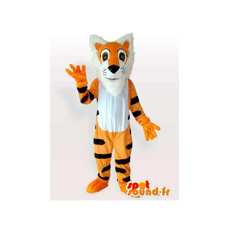 Orange striped tiger mascot black style Tigger - MASFR00846 - Tiger mascots