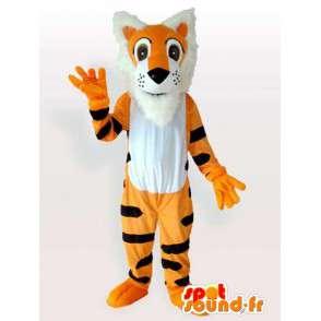 Mascotte de tigre orange rayée noire style tigrou - MASFR00846 - Mascottes Tigre