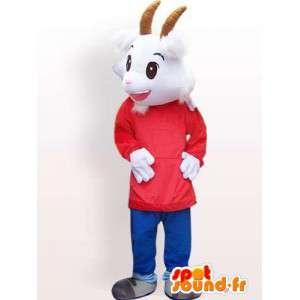 Capra mascotte con accessori personalizzati