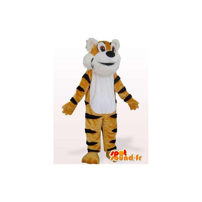 Mascotte de tigre du Bengale marron et rayé noir - MASFR00848 - Mascottes Tigre