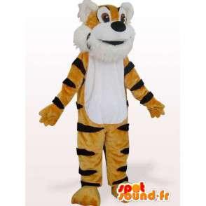 Tigre del Bengala mascotte marrone e nero a strisce - MASFR00848 - Mascotte tigre