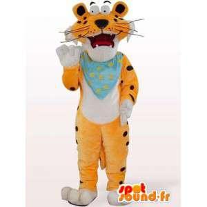 Oranje tijger mascotte met aanpasbare blauw vloeipapier