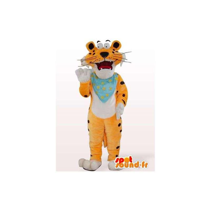 πορτοκαλί μασκότ τίγρης με δυνατότητα προσαρμογής μπλε στυπόχαρτο - MASFR00849 - Tiger Μασκότ