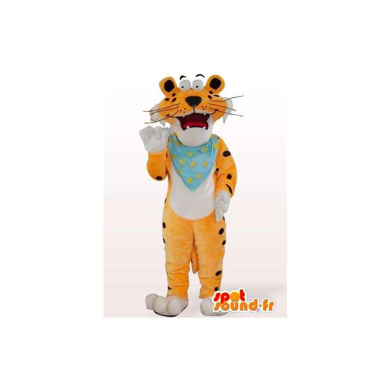 Oranje tijger mascotte met aanpasbare blauw vloeipapier - MASFR00849 - Tiger Mascottes