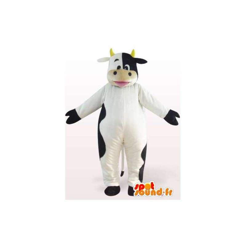 Mascot vaca en blanco y negro con cuernos - MASFR00850 - Vaca de la mascota