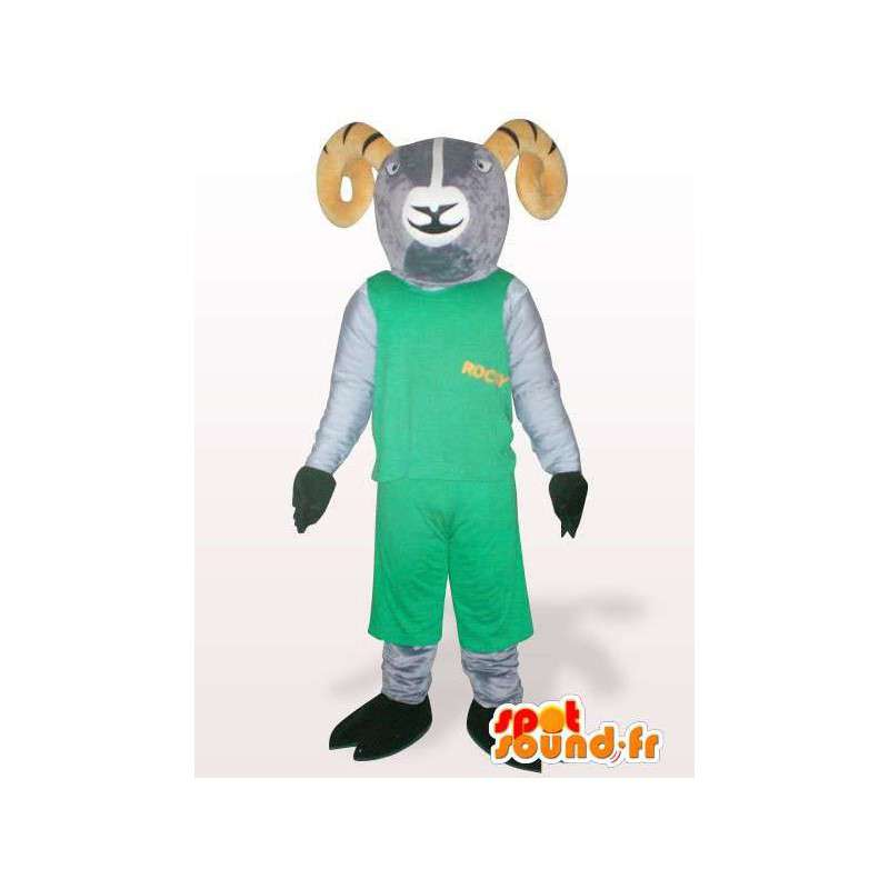 Goat mascot rocky mountains green - Various sizes - MASFR00851 - Goats and goat mascots