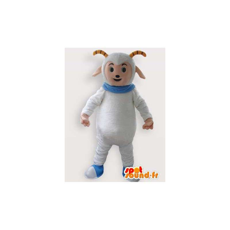 Mascotte de bouc des montagnes blanc avec collier bleu - MASFR00852 - Mascottes Boucs et Chèvres
