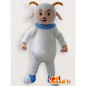 Mascot cabra de las montañas blancas con cuello azul - MASFR00852 - Cabras y cabras mascotas