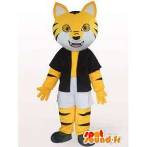 Mascot black and yellow striped cat with accessories