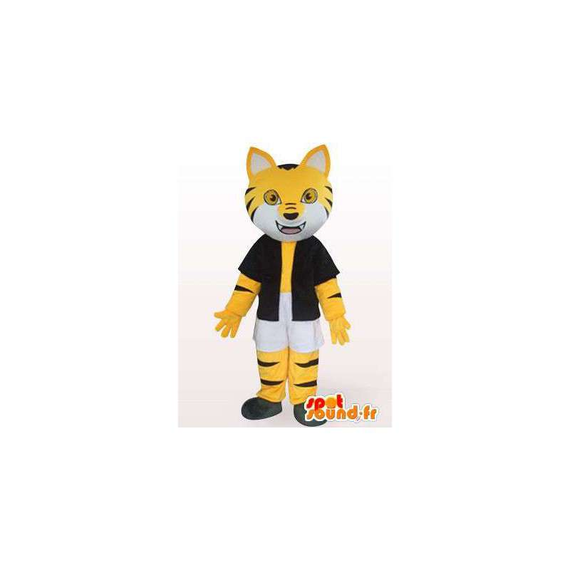 Mascot black and yellow striped cat with accessories - MASFR00853 - Cat mascots