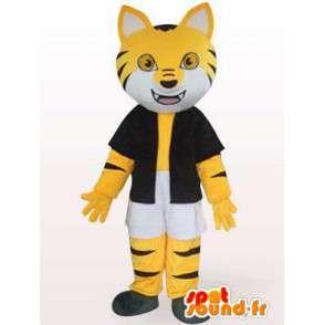Mascotte de chat rayé noir et jaune avec accessoires - MASFR00853 - Mascottes de chat