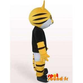 ριγέ μασκότ γάτα μαύρο και κίτρινο χρώμα με εξαρτήματα - MASFR00853 - Γάτα Μασκότ