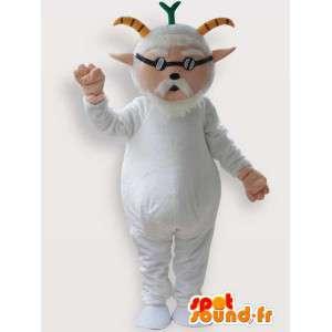 Mascote da cabra velha com janela cega branco - MASFR00855 - Mascotes e Cabras Goats