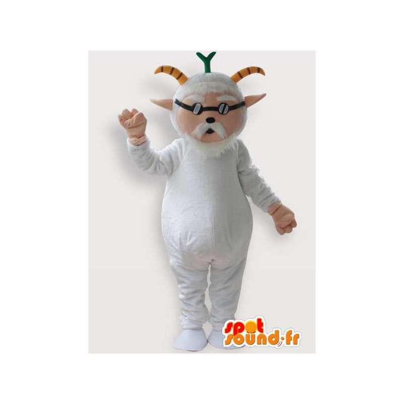 Mascotte de vieux bouc avec lunette aveugle blanc - MASFR00855 - Mascottes Boucs et Chèvres