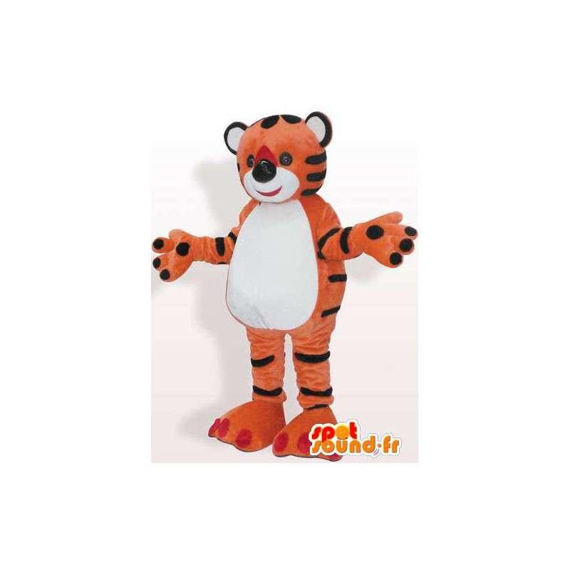 Maskot oranžová červená plněná tygr - MASFR00856 - Tiger Maskoti