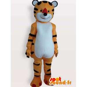 Mascot anaranjado de la felpa y el tigre rayado negro