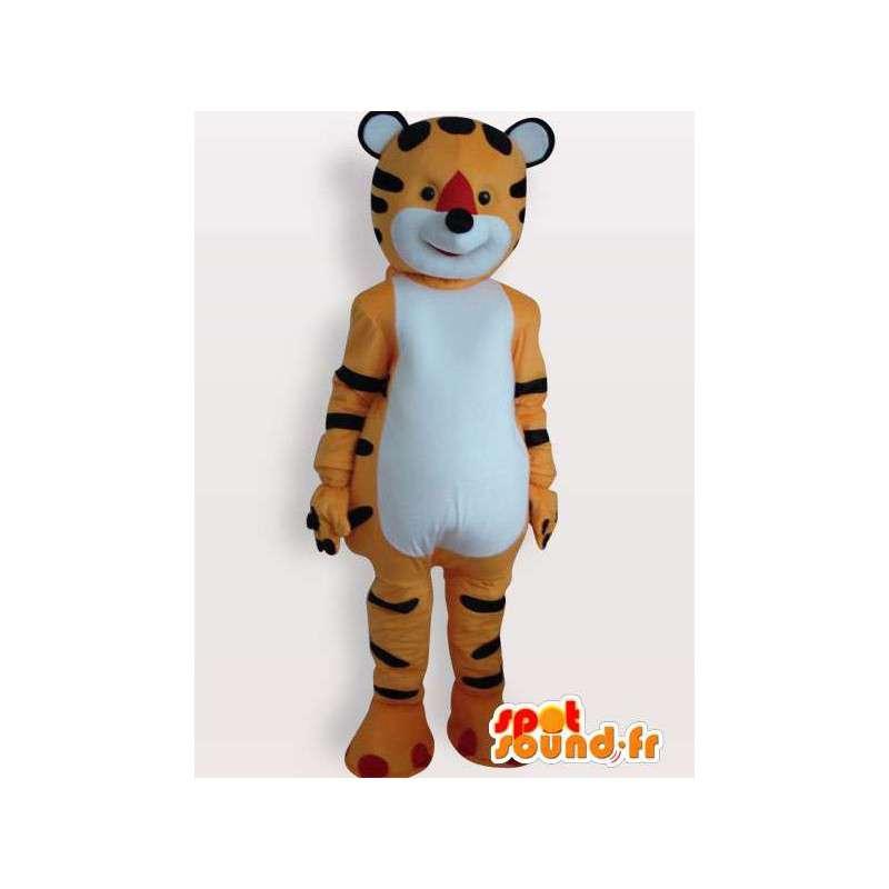 Μασκότ βελούδου τίγρη ριγέ πορτοκαλί και μαύρο - MASFR00857 - Tiger Μασκότ