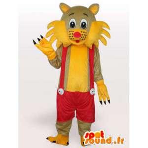 Mascotte chat à bretelles jaune et rouge - Costume de salopette