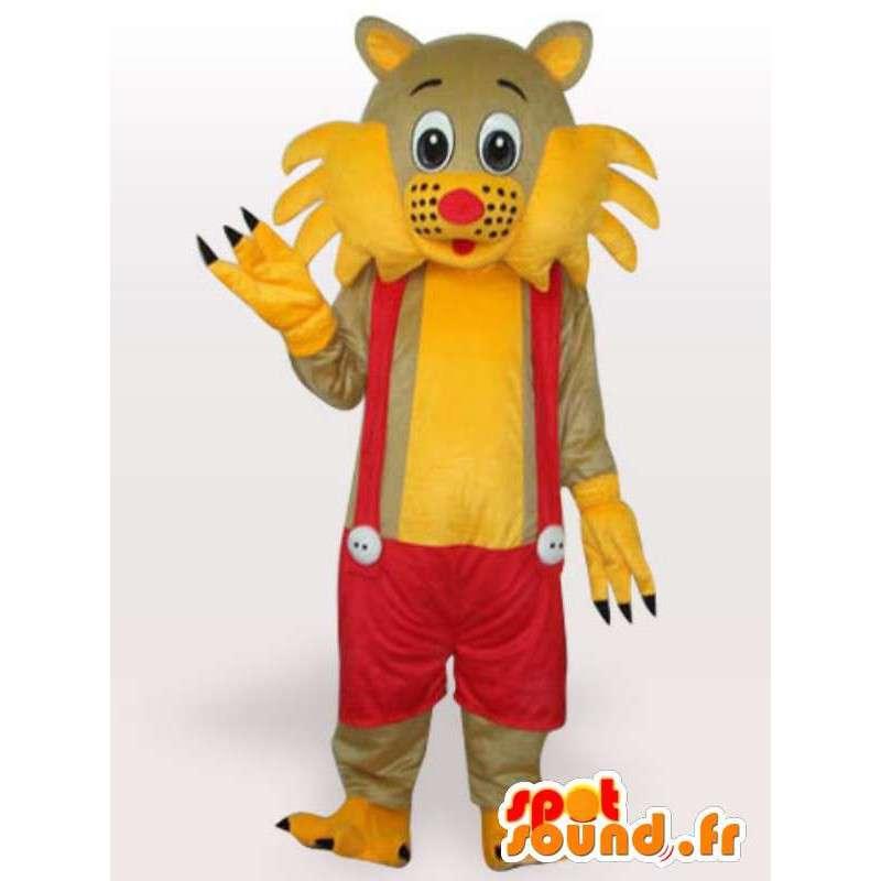 Maskottchen-Katze gelbe und rote Strapse - Kostüm Jumpsuit - MASFR00250 - Katze-Maskottchen