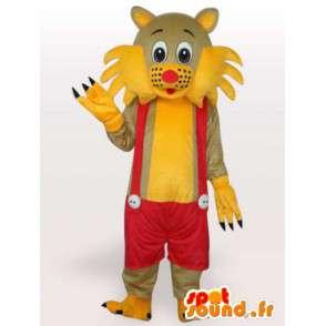 Mascot kat gele en rode bretels - overalls Costume - MASFR00250 - Cat Mascottes