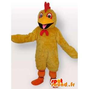 Žlutý kohout maskot s červeným hřebenem a oranžové na podporu - MASFR00695 - Maskot Slepice - Roosters - Chickens
