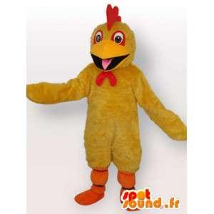 赤い紋章付きの基本的な黄色のひよこのマスコット-カナリアぬいぐるみ-MASFR00327-鶏のマスコット-オンドリ-鶏