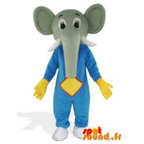 Elephant Mascot blauwe en gele handschoenen in de verdediging - Savannah Costume - MASFR00564 - Elephant Mascot