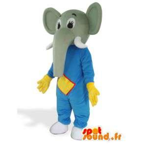 Elephant Mascot luvas azuis e amarelas na defesa - Traje Savannah - MASFR00564 - Elephant Mascot