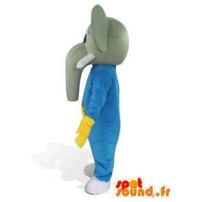 Mascotte Elephant bleu a defense et gants jaune - Costume savane - MASFR00564 - Mascottes Elephant