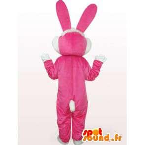 Roze en wit konijntje mascotte - Single pak grote oren - MASFR00761 - Mascot konijnen