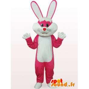 ροζ και λευκό λαγουδάκι μασκότ - Ενιαία κοστούμι μεγάλα αυτιά - MASFR00761 - μασκότ κουνελιών