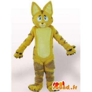 Mascotte de chat / lion jaune avec fourrure - Déguisement