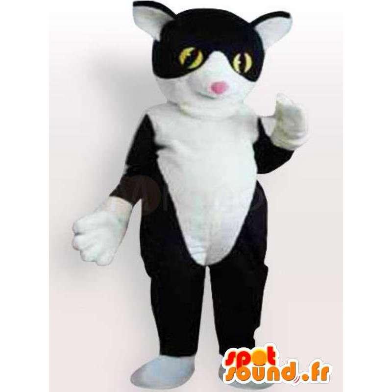 Zwarte kat pak en wit gevuld met een accessoire - MASFR00863 - Cat Mascottes