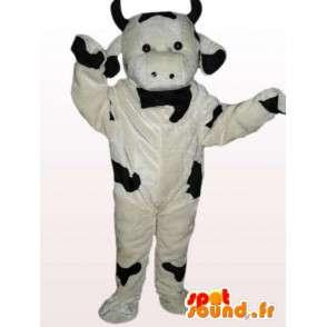 Αγελάδα μασκότ βελούδου - μαύρο και άσπρο κοστούμι αγελάδα - MASFR00867 - Μασκότ αγελάδα