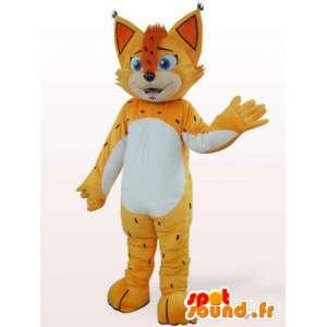 Mascotte de léopard jaune et orange - Déguisement avec crête