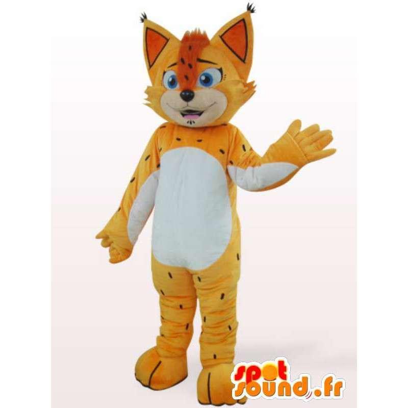 κίτρινο και πορτοκαλί λεοπάρδαλη μασκότ - μεταμφίεση με μέγιστη - MASFR00868 - Tiger Μασκότ