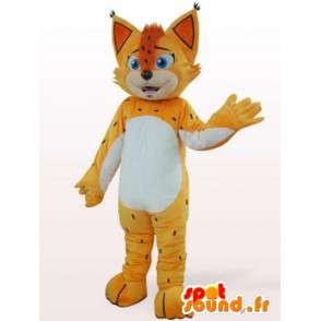 Mascotte de léopard jaune et orange - Déguisement avec crête - MASFR00868 - Mascottes Tigre