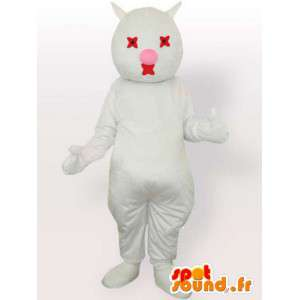Witte kat mascotte en rood - pluche witte kat kostuum