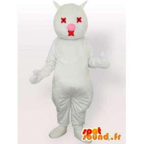 λευκό μασκότ γάτα και το κόκκινο - βελούδινα άσπρη γάτα φορεσιά - MASFR00869 - Γάτα Μασκότ