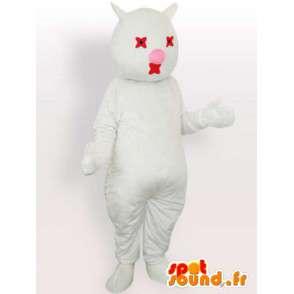 Witte kat mascotte en rood - pluche witte kat kostuum - MASFR00869 - Cat Mascottes