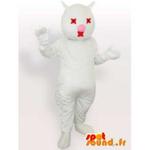 Mascot cat white and red - Costume plush white cat - MASFR00869 - Cat mascots