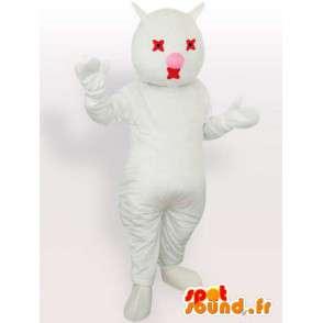 Mascotte de chat blanc et rouge - Costume peluche de chat blanc - MASFR00869 - Mascottes de chat