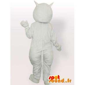 Hvit katt maskot og rød - plysj hvit katt kostyme - MASFR00869 - Cat Maskoter