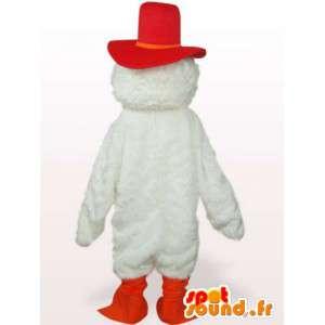 Krótki niski maskotka kogut w czerwone i pomarańczowe pióra - MASFR00766 - Mascot Kury - Koguty - Kurczaki